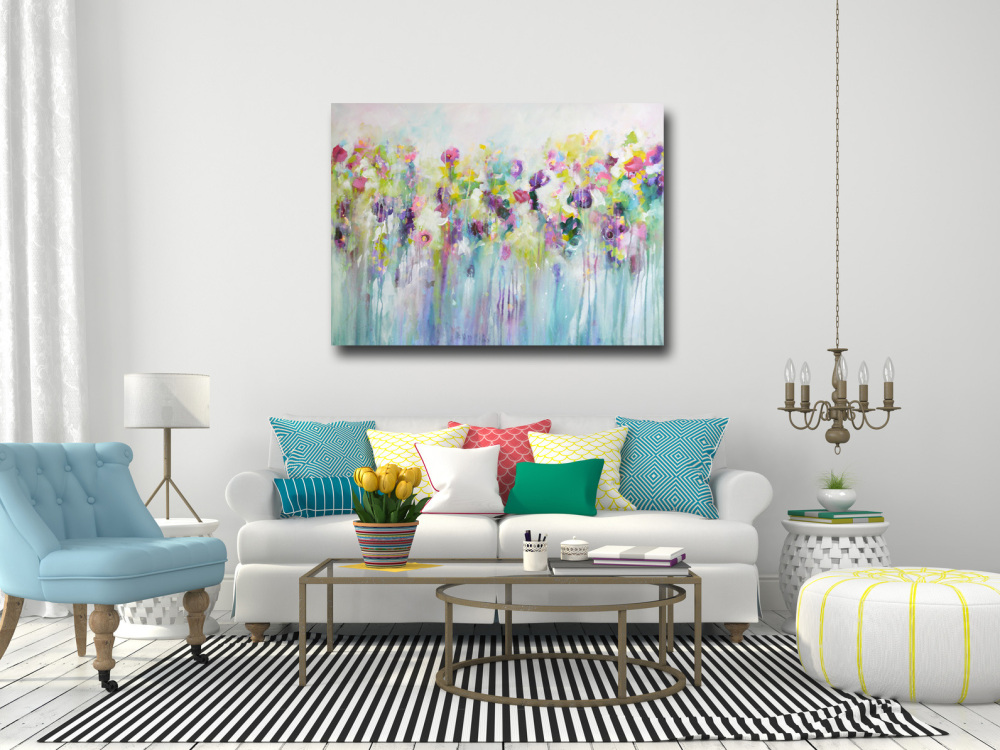 Large Wall Art: Large Canvas Prints, Floral Canvas Art, Meadow Painting