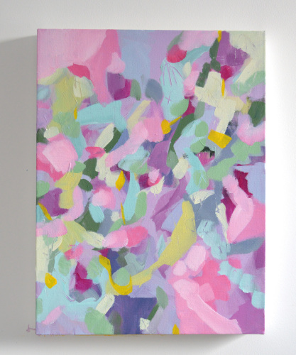 Strawberry Fields - Original Pink Abstract Expressionist Painting on Canvas