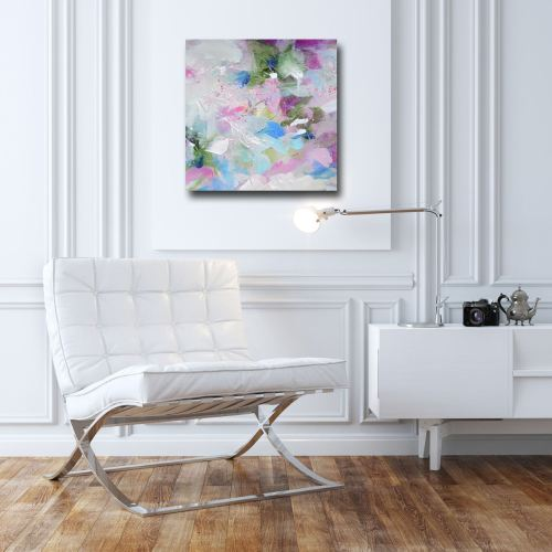 Confetti - Blue and Pink Abstract Canvas Art Giclee Print