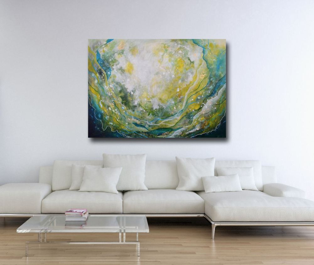 Extra Large Green Abstract Painting On Canvas Modern