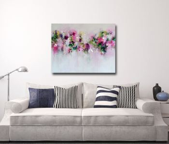 All The Sweet Promises- Pink and Green Abstract Canvas Art Giclee Print