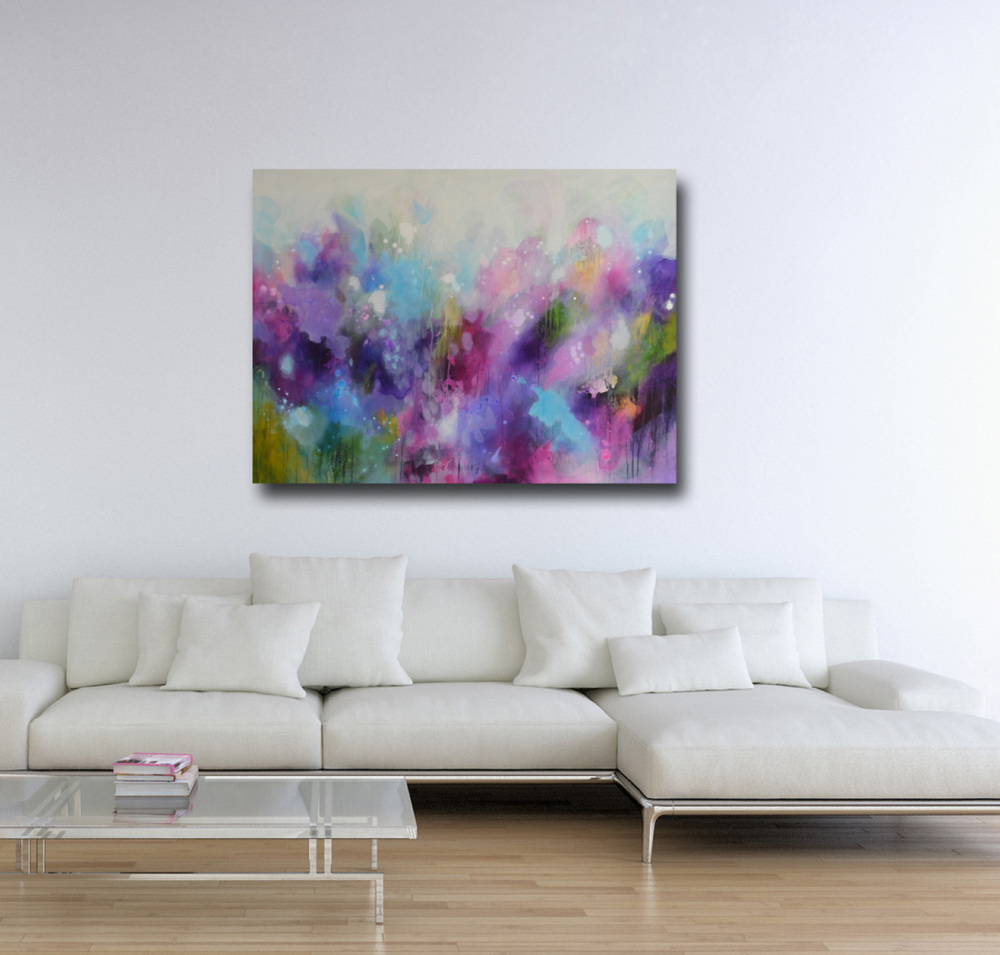 Large purple and pink abstract painting