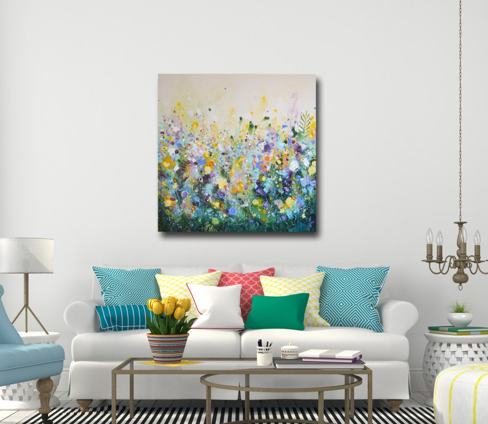 large original floral abstract painting for sale