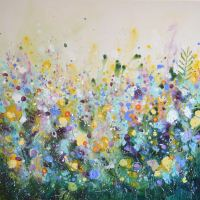 August Afternoon - Large Original Abstract Floral Painting on Canvas
