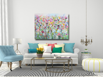 Floral Meadow - Green Floral Abstract Meadow Canvas Art Giclee Print