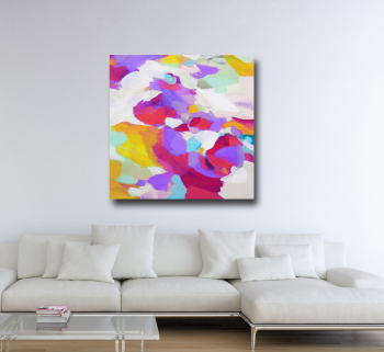 Large Abstract Red and Purple Canvas Art Giclee Print
