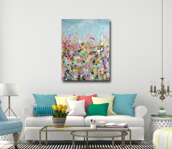 Lazy Days - Floral Abstract Meadow Canvas Art Large Giclee Print