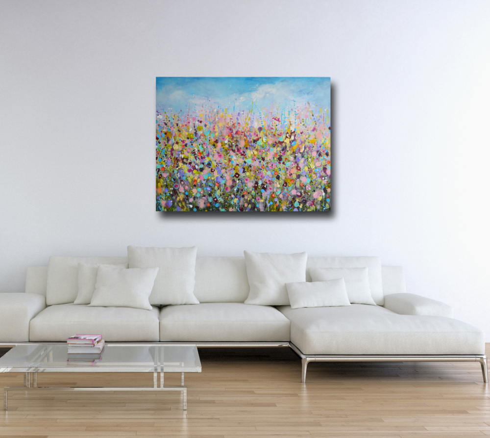 Large Abstract Floral Meadow Painting