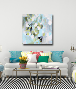 Large Abstract Blue, Grey and Green Canvas Art Giclee Print