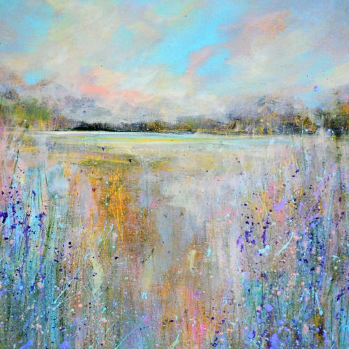 Pink and Blue Abstract Landscape Art Giclee Print