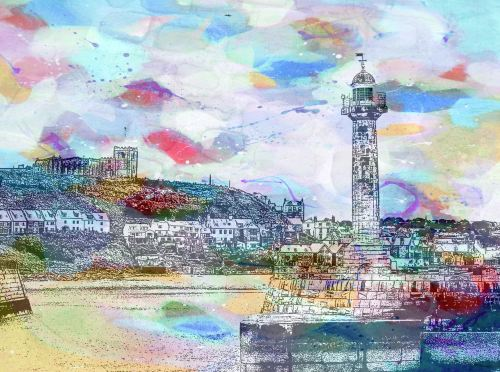 Whitby Harbour I - Colourful Giclee Print