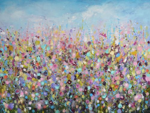 Lazy Days - Large Original Abstract Floral Painting on Canvas
