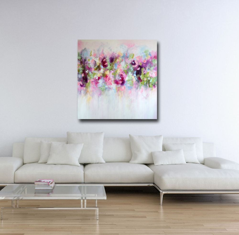 Pink Floral Abstract Canvas Print From Painting Giclee