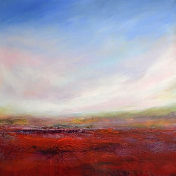 Warm Earth, Cool Sky -  Original Abstract Impressionist Landscape Painting on Canvas