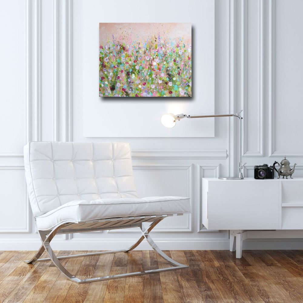 original abstract floral meadow painting on canvas