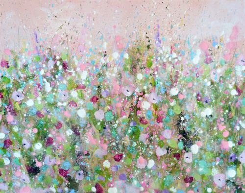 Blush Meadow - Original Abstract Floral Painting on Canvas