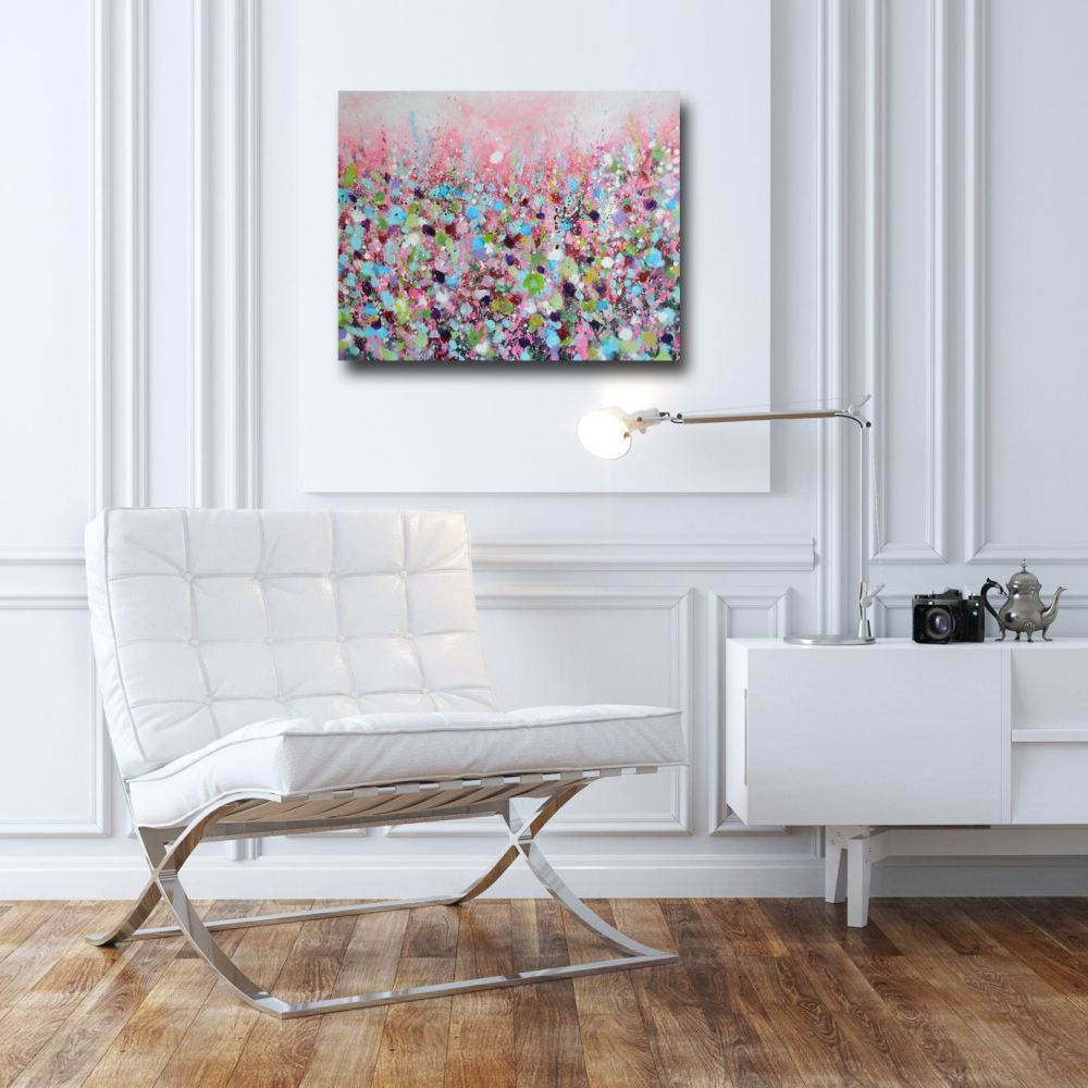pink and blue abstract floral meadow painting