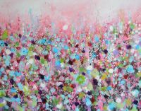 Pink Meadow - Original Abstract Floral Painting on Canvas