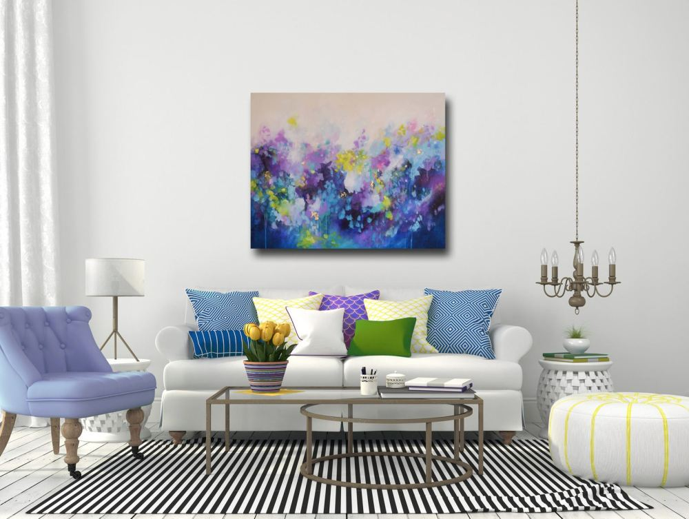 large blue and purple abstract painting