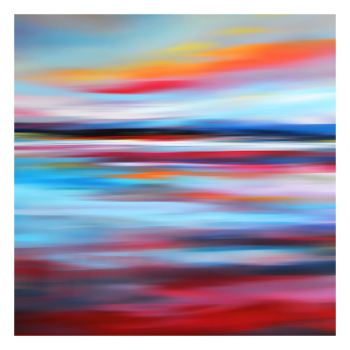 Red and Blue Abstract Landscape Art Giclee Print