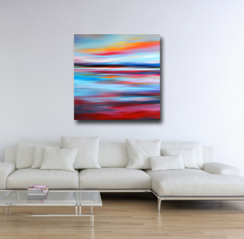 Large Red and Blue Abstract Landscape Canvas Art Giclee Print
