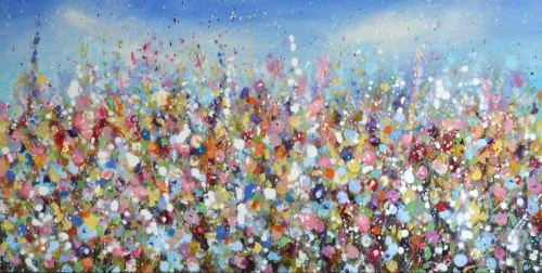 Summer Days - Large Original Abstract Floral Painting on Canvas