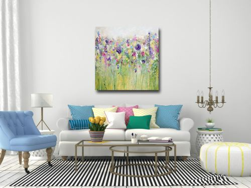 Spring Meadow - Large Floral Abstract Canvas Art Giclee Print