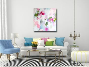 Maisie- Large Pink and White Abstract Canvas Art Giclee Print
