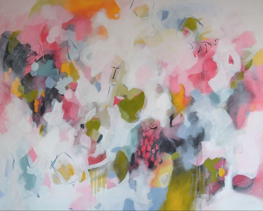 Large Pink And White Abstract Painting Original Modern