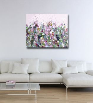 Abstract Floral Meadow Print Purple Canvas Art Giclee Print
