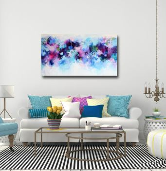 Pink and Blue Abstract Canvas Art Panoramic Giclee Print