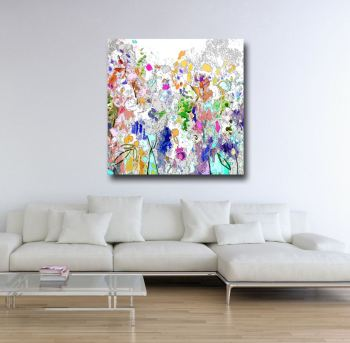 Large Floral Meadow Abstract Canvas Art Giclee Print
