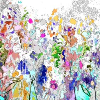 Colourful Meadow I - Floral Meadow Abstract Canvas Art Giclee Print