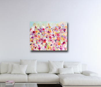 Orange Meadow -  Abstract Flower Canvas Art Giclee Print
