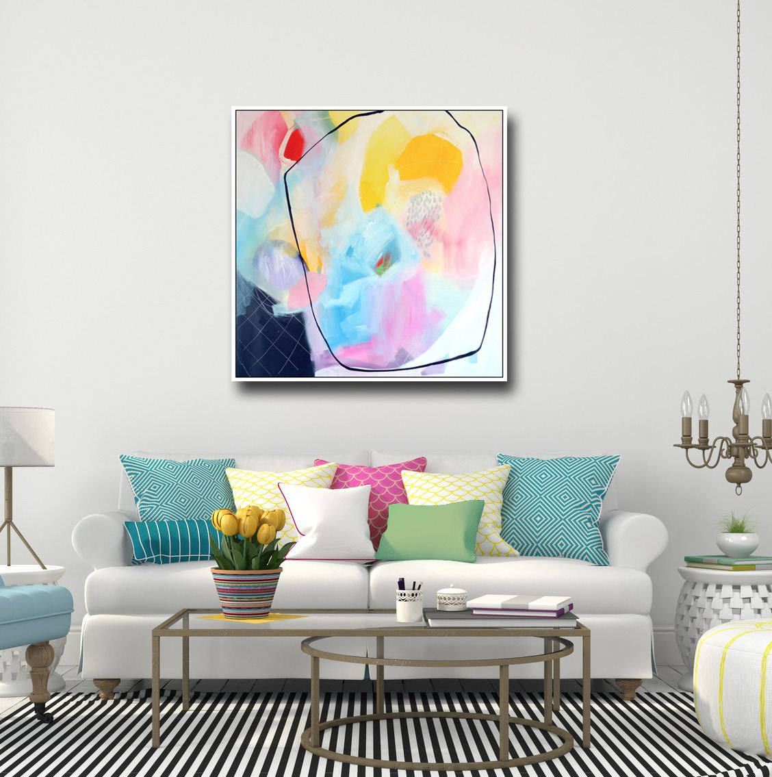 Large abstract canvas art wall art pink white green and blue abstract print from painting large giclee print modern artwork expressive abstract canvas