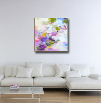 Purple and White Large Abstract Canvas Art Giclee Print from Painting