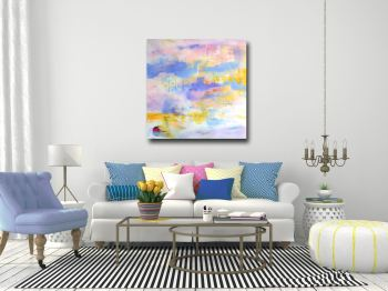 Large Blue and Pink Abstract Canvas Art Giclee Print from Painting
