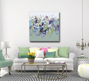 Large Floral Abstract Canvas or Paper Wall Art Giclee Print from Painting
