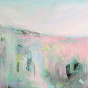 Pink and Green Abstract Landscape Art Giclee Print