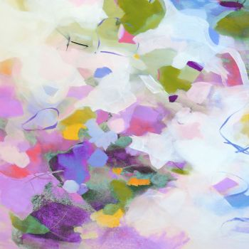 Purple, Green and White Abstract Art Giclee Print
