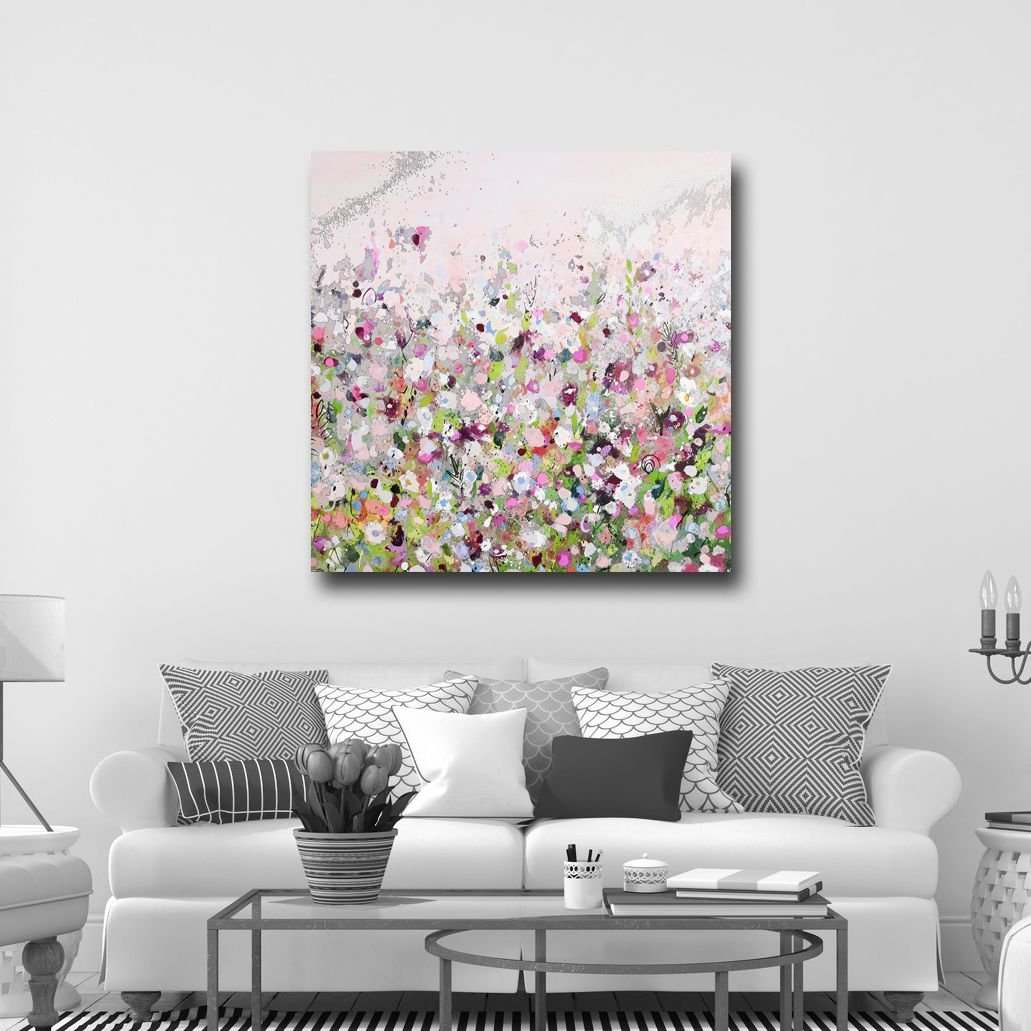 Large abstract canvas art wall art pink white green and for Newspaper canvas art