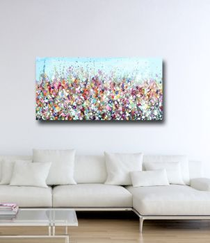 Floral Meadow Abstract Canvas Art Panoramic Giclee Print