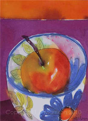 SOLD - Colourful Original Still Life Painting - Red Apple in a Floral Bowl