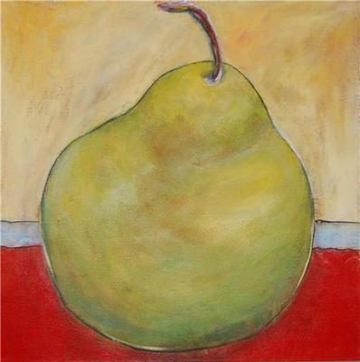 Colourful Original Still Life Painting - Green Pear SOLD