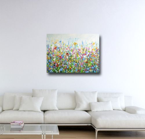 Large Floral Meadow Canvas Art Print
