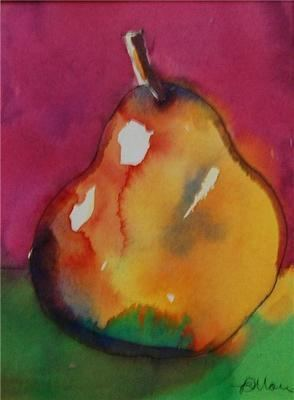 SOLD Golden Pear - Colourful Original Fruit Still Life Painting