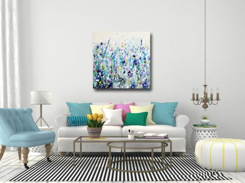 blue floral meadow canvas print