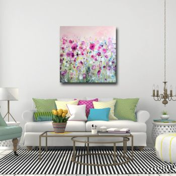 Large Pink Floral Abstract Canvas Art Giclee Print