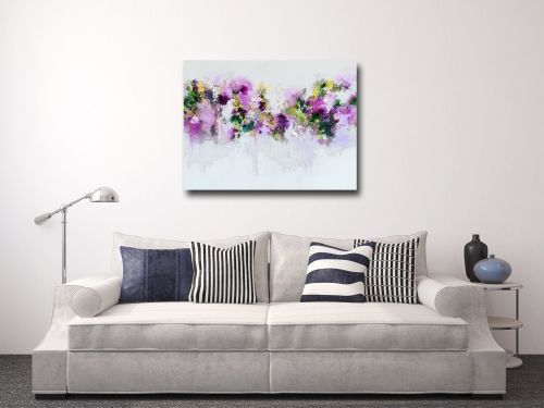 Purple and Green Abstract Floral Canvas Art Giclee Print