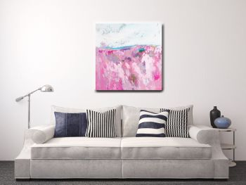 Large Pink Abstract Landscape Canvas Art Giclee Print